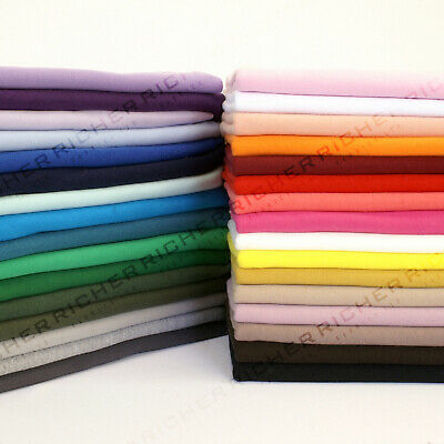 100% Knitted Jersey Cotton Stretch Interlock Fabric Material Made In UK FREE P&P • 5.90£