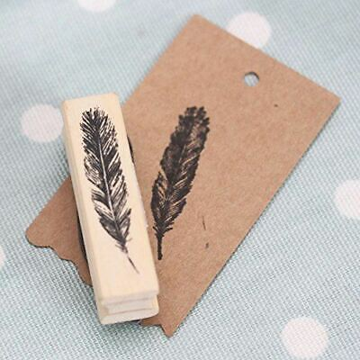 East Of India Feather Wooden Rubber Stamp - Craft Scrapbooking • 3.95£