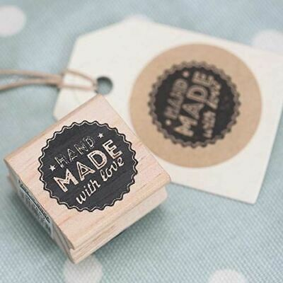 East Of India 'Hand Made With Love' Wooden Rubber Stamp - Craft • 3.95£