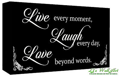 Black & White Live Laugh Love Quote Canvas Wall Art Print - A1, A2 + Sizes • 24.49£