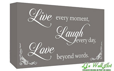 Grey Live Laugh Love Quote Canvas Wall Art  Picture Print - A1, A2 + Sizes • 24.49£