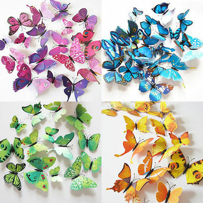 AU3.90 • Buy 12Pcs 3D Butterfly Wall Decals Removable Sticker Wedding Nursery Decor Magnets