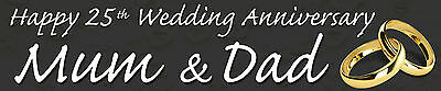 Personalised Wedding Anniversary Banners  Pack Of Two Black • 4.99£
