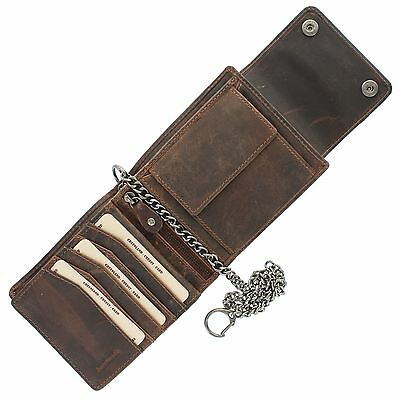 Greenland-Nature MONTANA Gents Leather Biker Wallet With Security Chain 192 • 49.99£
