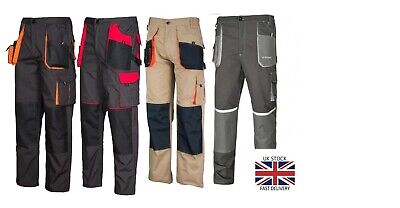 Work Trousers Mens Cargo Combat Style Heavy Duty  Pants Knee Pads Pockets • 14.79£