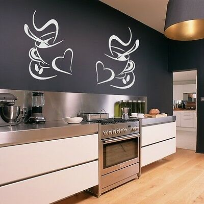 2 Coffee Cups Kitchen Wall Stickers Vinyl Art Decals Cafe Diner Hearts DIY • 2.89£