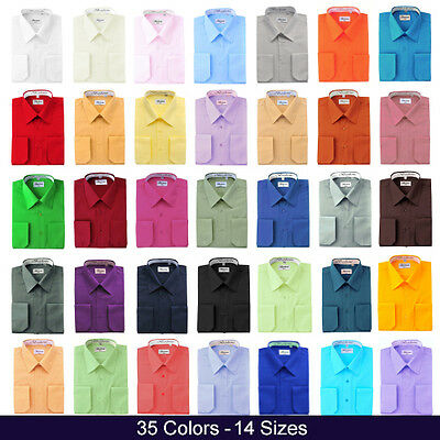 $19.95 • Buy Berlioni Italy Mens Dress Shirt French Convertible Cuff Solid 17 Colors 12 Sizes