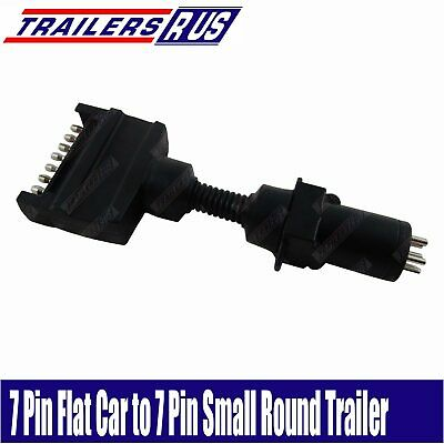 AU15.95 • Buy 7 Pin Flat To 7 Pin Small Round Trailer Connector Adaptor Plug