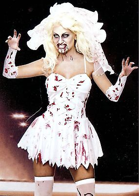 Fancy Dress Halloween  Bloody Zombie Bride 4 Sizes 8-18 Veil+gloves Included • 14£