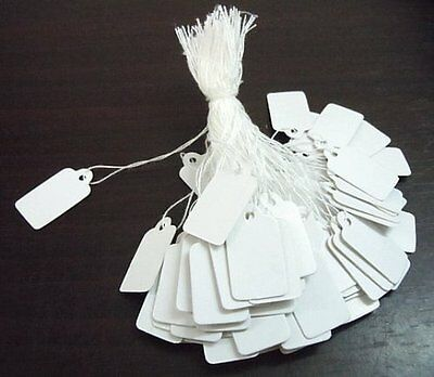 Plain White Strung String Gift Jewellery Display Price Tags Tie On Labels  • 1.85£