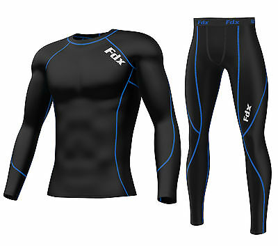 FDX Mens Compression Armour Base Layer Top Skin Fit Shirt + Leggings Set • 21.15£