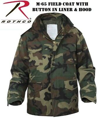 $90.99 • Buy Woodland Camouflage Military Style M-65 Field Jacket Button In Liner Rothco 7991