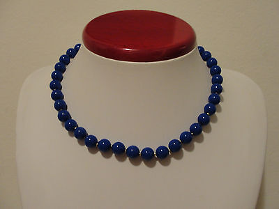 $13.99 • Buy 9mm Blue Bead Necklace Strand 17  Long