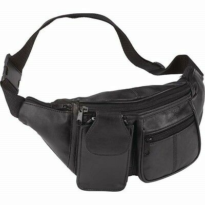 $13.99 • Buy FANNY PACK Black Leather Waist Belt Bag Mens Womens Hip Travel Carry On Pouch