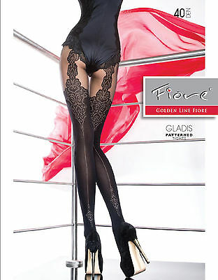 £4.39 • Buy New  Collection Fiore  GLADIS  Patterned Tights 40 Denier Mock Suspender  Tights