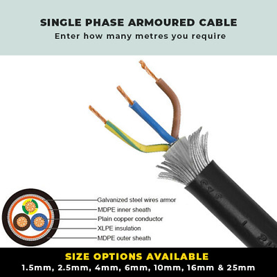 £5.90 • Buy Armoured Cable With Coloured Cores 1.5mm-25mm Single Phase Swa Cable Per Metre