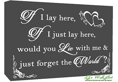 If I Lay Here - Snow Patrol QUOTE Canvas Wall Art Picture Print - Grey • 16.49£