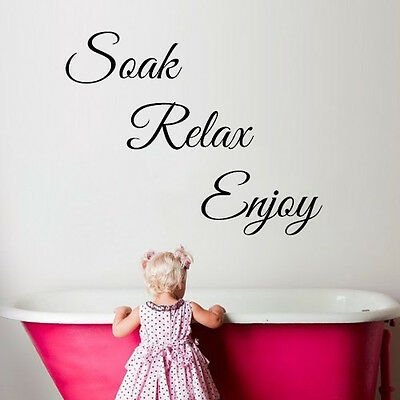 Soak Relax Enjoy Wall Art Stickers Bathroom Toilet Quote Vinyl Words • 2.89£
