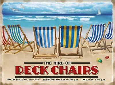 English Seaside Beach Deckchairs Advertising Metal Sign Plaque Picture • 5.95£