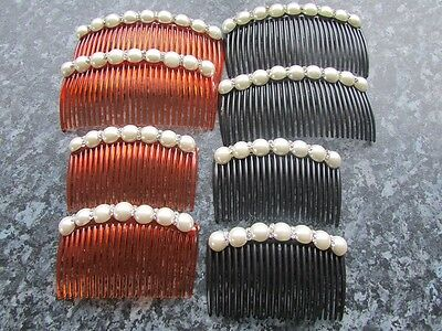 Pack 2 Faux Pearl Diamante Hair Combs Plastic Grip Slide Wedding Prom Comb Clip • 3.55£