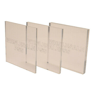 Perspex® Acrylic Clear Cut Sheet & Block 1mm - 50mm Thick 50mm To 600mm Squares • 11.30£