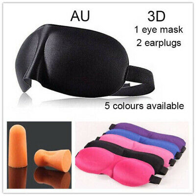 AU3.50 • Buy 3D Black Sleeping Eye Mask Blindfold Earplugs Shade Test Sleep Cover Light