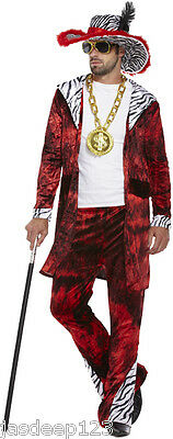 £99.99 • Buy Mens Gangster Pimp Red Big Daddy Fancy Dress Costume Outfit 70s Disco One Size