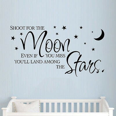 ** Shoot For The Moon ** Wall Sticker Quote Childrens Nursery Bedroom Kids Art • 9.99£