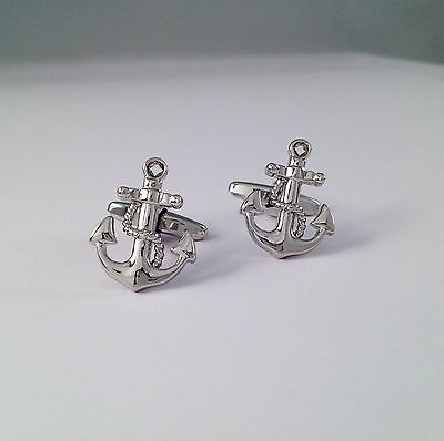 Novelty Silver Plated Anchor Cufflinks • 5.35£
