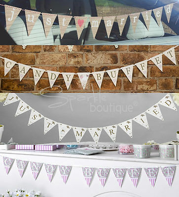 JUST MARRIED / CANDY BUFFET BUNTING - Sweet/Sweetie Bar Sign/Wedding Car Banner • 1.99£