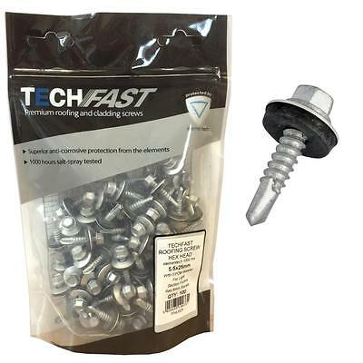 £10.99 • Buy (BAG OF 100) 5.5 X 45mm Tech Screws For Roofing & Cladding Self Drill Tek Screw