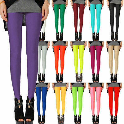 AU8.95 • Buy Colorful Shiny Neon Leggings Stretch Fluro Metallic Pants For Gym Yoga Dance