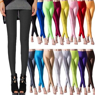 AU8.95 • Buy Colorful Soft Neon Leggings Stretchy Fluro Shiny Pants For Gym Yoga Dance Party