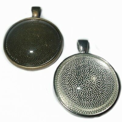 LARGE ROUND SILVER BRONZE CABOCHON PENDANT CAMEO SETTINGS TRAY 30mm  C32 • 2.49£