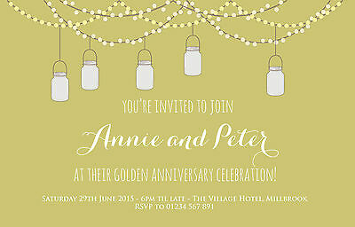 £5.99 • Buy 10 Personalised Golden Silver Pearl Ruby Wedding Anniversary Party Invitations
