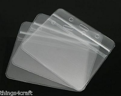 ID Badge Card Plastic Pocket Holder Clear Pouches For Lanyards 98 X 86mm • 0.99£