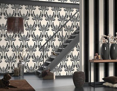 Grey Black White Damask Glitter Textured Feature Wallpaper A.s.creation 95703-4 • 11.99£