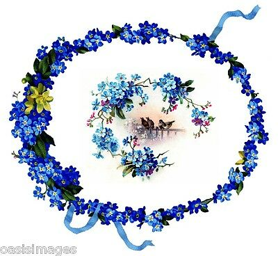 £3.50 • Buy VINTAGE BLUE FLORAL WREATH & BIRDS  Iron On T Shirt Transfer Or Sticker