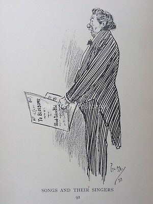 £10 • Buy Opera Singer & Tenor TO BLOSSOMS By Phil May 1896 Antique Punch Cartoon