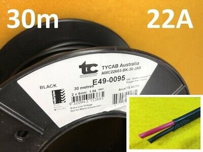 AU56.66 • Buy 30m X 22 Amp Auto Cable 4 Mm Twin Core Dual Sheath Electrical Wire TYCAB