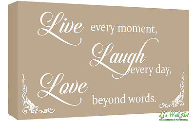 Beige Live Laugh Love Quote Canvas Wall Art  Picture Print - A1, A2 + Sizes • 23.49£