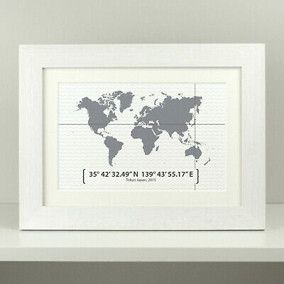 Personalised Map Print Engagement Gift / Anniversary Coordinates Map Present  • 7.49£