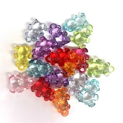 £3.30 • Buy 20 X Bright Colour Mixed Teddy Bear Charms, Baby Shower, Dummy Clips