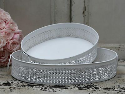 £38.99 • Buy Lace Side Effect Metal Handle Tray Antique White Vintage Style Dressing Table