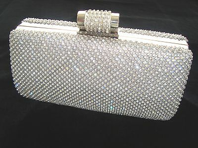£25.99 • Buy Large Silver Bling Diamond Diamante Crystal Evening Bag Clutch Purse Party Prom