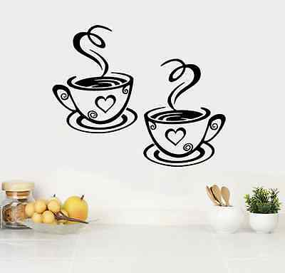 2 Coffee Cups Kitchen Wall Stickers Cafe Vinyl Art Decals (FCC04) • 2.89£