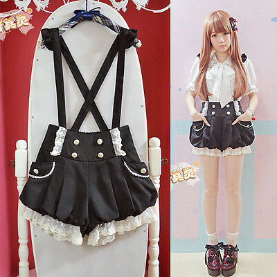 $ CDN34.73 • Buy Kawaii Girls Lolita Suspender Lace Pumpkin Shorts Cute Lantern Pants Pink&Black