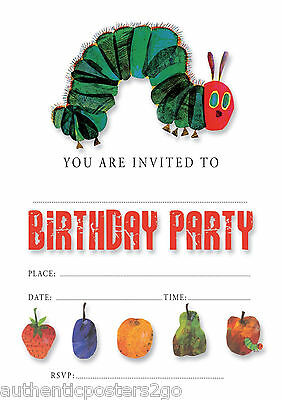 #15 HUNGRY CATERPILLAR Pack Of 10 Kids Children Birthday Party INVITATIONS • 2.99£