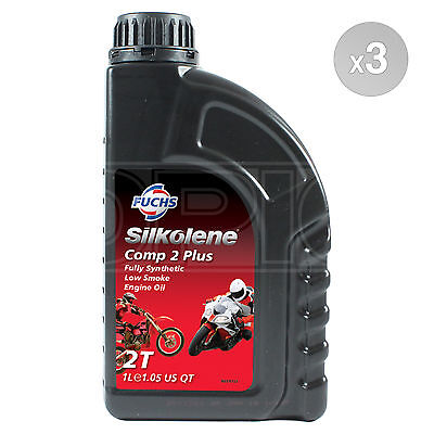 Silkolene Comp 2 Plus Synthetic 2-Stroke 2T Motorcycle Engine Oil 3 X 1 Litre 3L • 50.49£