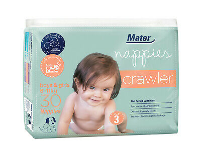 AU14.99 • Buy Mater Nappies Crawler Size 3, 6-11kg Australian Made Hospital-developed, 30 Pack
